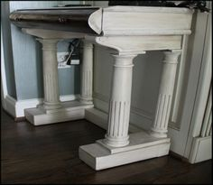 repurposed piano console table
