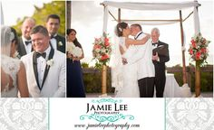 8th Avenue South | Naples Wedding Photographer | Jamie Lee Photography | Outdoor Beach Ceremony | Sweet Groom Looking at Bride | First Kiss
