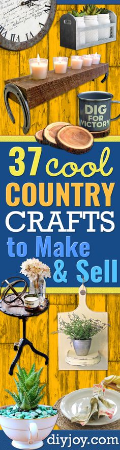 Country Crafts to Make And Sell - Easy DIY Home Decor and Rustic Craft Ideas - Step by Step Farmhouse Decor To Make and Sell on Etsy and at Craft Fairs - Tutorials and Instructions for Creative Ways to Make Money - Best Vintage Farmhouse DIY For Living Ro Country Crafts, Rustic Crafts, Vintage Crafts, Vintage Home Decor, Wood Crafts, Country Decor, Etsy Vintage, Primitive Crafts, Vintage Ideas