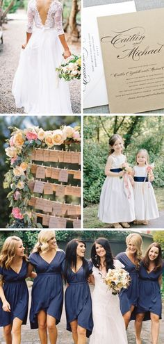 Rustic Kraft Wedding Inspiration - Lace Wedding Dress, Kraft Wedding Invitation, Rustic Flowers, Navy Bridesmaid Dresses I love the bridesmaids dresses and the flower girl dresses too cute Trendy Wedding, Wedding Styles, Dream Wedding, Wedding Day, Lace Wedding, Navy Rustic Wedding, Rustic Blue, Rustic Weddings, Elegant Wedding