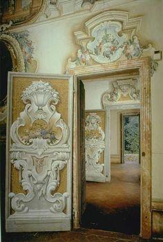 Ornamental rococo door; Villa Della Porta.