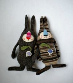 Easter Bunny Striped Lambswool Sweater Repurposed