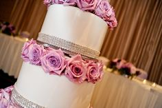 Bling and pink roses wedding cake