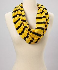 Women Two Color Stripes Jersey Knit Infinity Scarf
