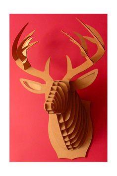 Bucky the cardboard deer trophy. From cardboard safari on etsy. Cardboard Deer Heads, Cardboard Animals, Diy Cardboard, Cardboard Sculpture, Safari, Puzzles 3d, Nachhaltiges Design, Design Ideas, Wood Animal