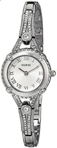 GUESS Women's U0135L1 Petite Vintage-Inspired Crystal-Accented Silver-Tone Watch. Go to the website to read more description.