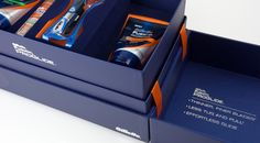 Gillette Marketing Product Promotion Presentation Kit Box - Inside Contents #packaging #packagingdesign #creativedesign #marketing #marketingdesign #taylorboxcompany