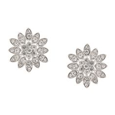 <P>Razzle and dazzle your style with this fancy pair of flower stud earrings. Round crystals framed in silver teardrop shapes form multiple petals on this shiny crystal flower.</P><UL><LI>Silver-tone finish <LI>Post back</LI></UL>