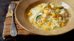 Simple, yet stylish, Hugh Fearnley-Whittingstall's pumpkin risotto with crispy sage takes no time to cook.