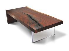 Live Edge Walnut Coffee Table - Plexi Base