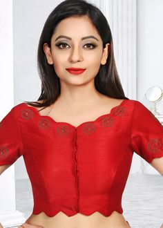 Red Art Silk Stone Work Blouse Informations About Red Art Silk Stone Saree Jacket Designs, Saree Blouse Neck Designs, Simple Blouse Designs, Kurta Neck Design, Stylish Blouse Design, Stone Work Blouse, Designer Blouse Patterns, Red Art, Dhoti Saree