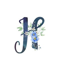 Monogram H Wild Blue Flowers by floralmonogram