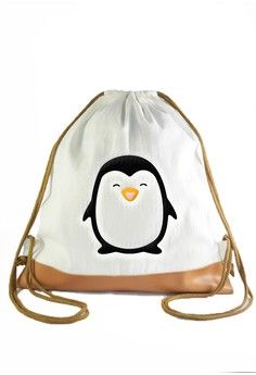 e32968142179 Drawstring Bag Penguin from Myriad Print Concepts in white 1 Drawstring  Backpack