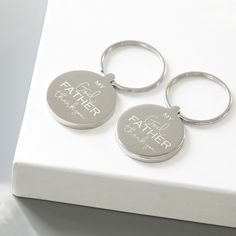 Our 'Godfather' Keyring is engraved with the message 'My Godfather thank you'. The reverse of the keyring can be personalised with your own wording. Supplied in a natural cotton bag. Godparent Gifts, Personalized Gifts, Christmas Delivery, Christening Gifts, The Godfather, Cotton Bag, My Father, Lily, Product Description