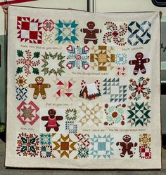 """4-19-16 GINGERBREAD JOY Finally finished after many years. Machine pieced, appliqued, and quilted. 76"""" x76"""" in."""
