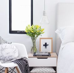 Mocka Jesse Bedside Cabinet and Stone Cushion | Styled by Tarina Lyell