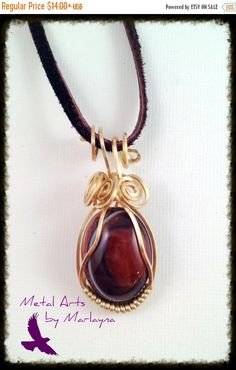 Dyed Dark Brown Dragon's Vein Agate Gemstone Necklace Yellow Brass Wire Wrapped Pendant Bohemian Hand Wrapped Steampunk NHB86