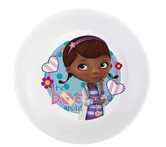 Doc Mcstuffins 6 inch melamine bowl.  available at www.platesplus4kids.com