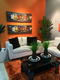This living room is so perfect.the sofa,the gallery wall,all of it Living Room Decor Colors, Ikea Living Room, Living Room Paint, Cozy Living Rooms, Contemporary Family Rooms, Living Room Orange, Elegant Living Room, Dining Room Design, Home Decor Bedroom