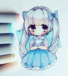 grafika anime girl, chibi, and draw