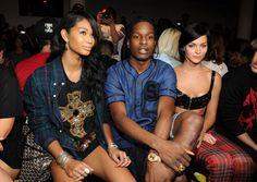 Chanel Iman, ASAP Rocky and Leigh Lezark attend the Jeremy Scott fashion show