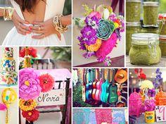 I love the idea of little colorful guitars!! Flea Market for sure. {fiesta wedding} colorful fiesta wedding