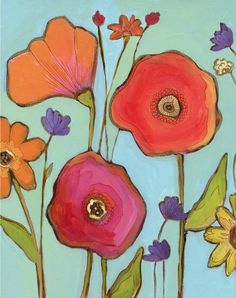 another lovely poppy painting...I think I'm drawn to the red and blue combo and that aqua with red...lovely!