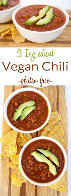 3 Ingredient Vegan Chili (gluten free) - This easy comforting chili recipe is perfect for a road trip or if you want a quick meal. It is packed with protein to satisfy.