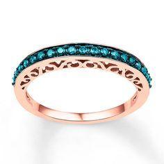 Blue Diamond Ring 1/4 ct tw Round-cut 10K Rose Gold