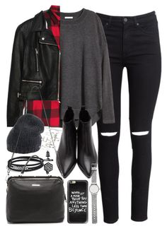 """""""Outfit with black jeans and a check shirt"""" by ferned on Polyvore featuring H&M, Acne Studios, David Yurman, Zara, Roberto Collina, Linea Pelle, Casetify, Witchery, Topshop and Simply Vera"""