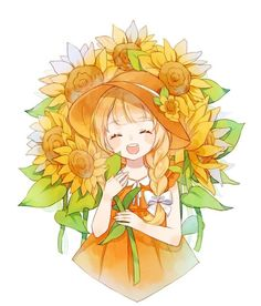 Trendy Ideas for flowers girl drawing anime art Anime Girl Cute, Beautiful Anime Girl, Kawaii Anime Girl, Anime Art Girl, Anime Girls, Manga Anime, Anime Chibi, Manga Girl, Anime Girl Drawings