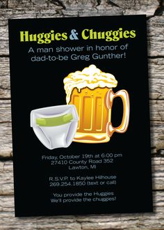 HUGGIES & CHUGGIES bbq, beer and babies Diaper Party Invitation Printable diy Customizable. $15.00, via Etsy.
