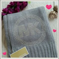 "MICHAEL MICHAEL KORS SCARF Brand new with tags  Gray with silver studded MK logo 100% Acrylic  One size Length:  75"" MICHAEL Michael Kors Accessories Scarves & Wraps"