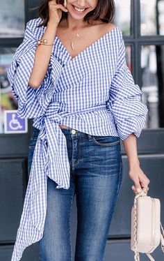 6a0d3f796f Gingham wrap top and jeans Wrap Shirt, Tie Front Shirt, Wrap Blouse, Blue
