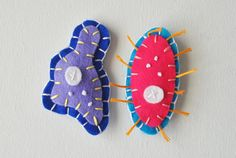 Amoeba and Paramecium Microbe Magnet Pair - Science Microbiology Biology Graduation - Funny Geeky Wool Felt Magnets
