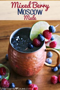 Mixed Berry Moscow Mule - This Mama Loves - Mixed Berry Moscow Mule Recipe - How to Make a Mixed Berry Moscow Mule with Blueberry and Raspberry Vodka