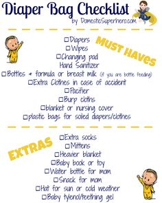 FREE Printable - Diaper Bag Checklist! Perfect for new moms or to go with a baby shower gift!