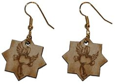 Cross with heart and wings earrings with 1 inch wooden beads- gold plated EP Laser http://www.amazon.com/dp/B00FEPKRSQ/ref=cm_sw_r_pi_dp_fQzawb0BHXQMC