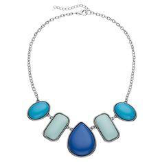 Teardrop, Rectangle & Oval Charm Collar Necklace, Women's, Turq/Aqua