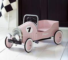 Pink Retro Pedal Car #PotteryBarnKids  @tomkatstudio and @ potterybarnkids