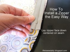 Life is {Sew} Daily: How to Install a Zipper {tutorial}