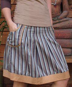 Look what I found on #zulily! Brown & Orange Stripe A-Line Skirt by Spicy Green Mango #zulilyfinds