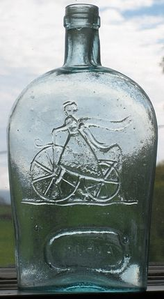 Pin it and win a trip to New York, Barcelona, Berlin, Rome or London. - Girl on Bicycle, Blue Glass Bottle Colored Glass Bottles, Antique Glass Bottles, Vintage Bottles, Bottles And Jars, Vintage Glassware, Glass Jars, Perfume Bottles, Vintage Perfume, Mason Jars