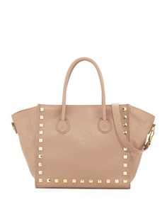 Jaden Studded Faux Leather Tote Bag, Nude by Neiman Marcus at Neiman Marcus Last Call.