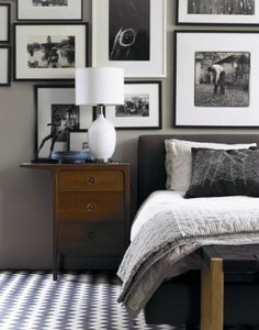 Great color, Great Bed, Love the black and white Gallery wall.... This would fit so well in your bedroom.