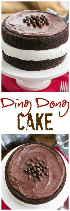 Ding Dong Cake | 2 thick moist chocolate cake layers filled with vanilla cream and topped with caramel infused ganache @lizzydo