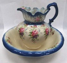 Antique Floral 2-Pc Wash Basin and Pitcher Set