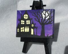 Spooky House Hand Painted Mini Canvas