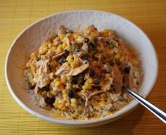 Easy chicken santa fe: 1 can black beans, 1 small bag frozen sweet corn,   1 cup bottled chunky salsa,   chicken, 1 package cream cheese, 1 cup shredded cheddar. thow all ingredients into the slow cooker until chicken is cooked all the way through