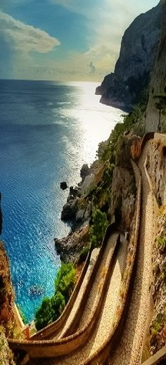 Via Krupp, Capri, Campania, Italia Places Around The World, Oh The Places You'll Go, Places To Travel, Places To Visit, Travel Destinations, Camping Places, Dream Vacations, Vacation Spots, Wonderful Places